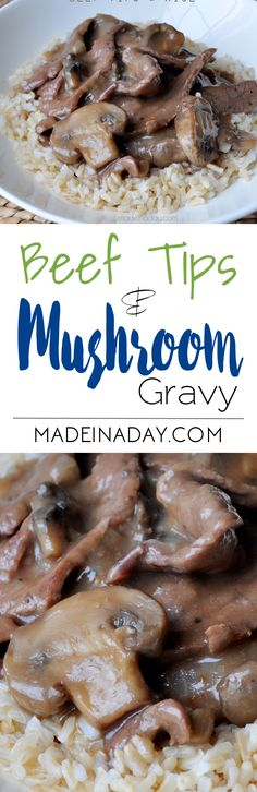 Beef Tips & Mushroom Gravy Recipe, Tender beef tips smothered mushroom gravy. Great Southern comfort food recipe.