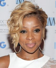 Mary J Blige Hairstyle - Short Wavy Formal - Medium Blonde. Click on the image to try on this hairstyle and view styling steps!