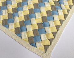 Knit Blanket Pattern Knit Throw Pattern by DeborahOLearyPattern