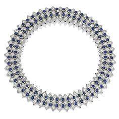 Platinum, Diamond and Sapphire Necklace, Hammerman Brothers