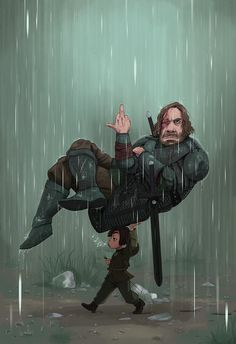 """As a submission to the Character Design Challenge's theme of the month, 'Game of Thrones', I decided to go for the Hound and Arya as I absolutely adore the dynamics of their relationship"""""""