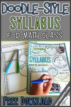Syllabus for Math Class (Doodle - Style!): Free Printable (Math Giraffe - The… Math Teacher, Teaching Math, Math Math, Math Games, Math Fractions, Teaching Ideas, Teaching Methodology, Teacher Stuff, Teacher Tools
