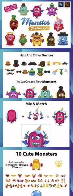 Funny Character, Monster Design, Cute Monsters, Horns, Kit, Create, Children, Illustration, Holiday