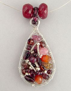 Jewelry tutorial 039: Wire wrapped beaded mosaic pendant - bead mosaic - EniOken.com