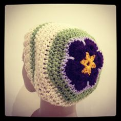 BOGO African flower crochet slouch hat another hat - great idea!!!
