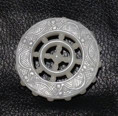 Jade Carving Pale Gray Nephrite Wheel of Law by ElegantArtifacts, $450.00