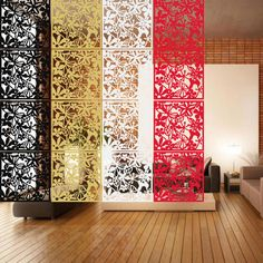 Free Shipping 4 Color Optional Brief hanging Screen Personalized Wall Stickers Grilles PVC Decoration Partition Home Decoration