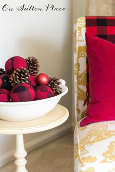 Red Buffalo Plaid Christmas Ornament   Easy tutorial to make these ball ornaments. You can use any fabric you have on hand but I used this popular red buffalo check. Pics and easy instructions!