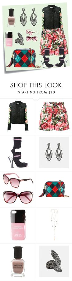 """Rose Print Short..**"" by yagna ❤ liked on Polyvore featuring Post-It, Off-White, Dolce&Gabbana, Fendi, Avenue, Chanel, Iphoria, 8 Other Reasons, Deborah Lippmann and vintage"