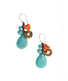 This Turquoise & Tiger Eye Drop Earring by PANNEE JEWELRY is perfect! #zulilyfinds