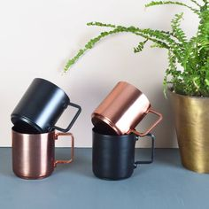 Copper And Black Espresso Cups, Set Of Two