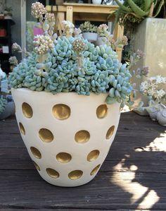 White and gold polka dot planter | ShapeCrete