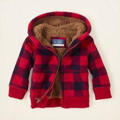 baby boy - plaid sherpa hoodie | Children's Clothing | Kids Clothes | The Children's Place  ** Carrie, maybe something like this would be cute for your prof. outside pictures!  What do you think?  Looks kind of christmasy but not really....lolol