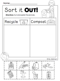 FREEBIE!! Earth Day Printables - Sort it Out! (Cut and Paste) Compost and Recycle