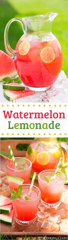 Watermelon Lemonade - my new favorite summer drink and the perfect use for those big watermelons! It is incredibly refreshing!: