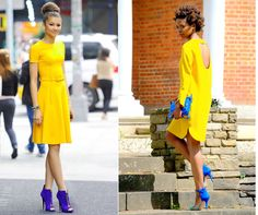 Blue is a great color to be combined with yellow. It brings a contrast and it cools down the shiny pop of yellow. This is a refreshing combination for summer day. Did you notice that not many people wear yellow color? Do you have at least 1 yellow piece in your closet? #outfit #fashion #yellow #blue