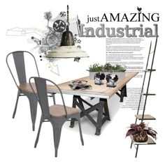 """""""Industrial Chic Dining"""" by clotheshawg ❤ liked on Polyvore featuring interior, interiors, interior design, home, home decor, interior decorating, LumiSource, Bloomingdale's and Mikasa"""