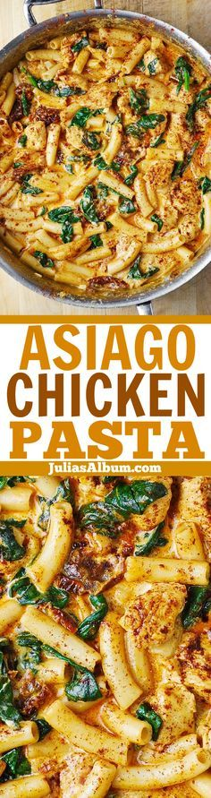 Asiago Chicken Pasta with Sun-Dried Tomatoes and Spinach - smothered in a delicious creamy ASIAGO cheese sauce!