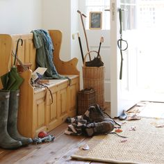 Storage Bench, wellies, hunters, walking, walking sticks, walking boots, the great outdoors, wooden floors, rug, autumn