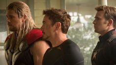 "Chris Hemsworth is Thor, Robert Downey Jr. stars as Tony Stark/Iron Man and Chris Evans is Steve Rogers/Captain America in ""Avengers: Age of Ultron. The Avengers, Avengers Film, Avengers Trailer, Funny Avengers, Age Of Ultron, Ultron Marvel, Mad Max Fury Road, Chris Evans, Chris Hemsworth"