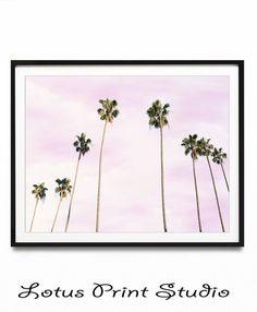 Row of Palm Trees on a pink sky background. Wall Art Prints, Printable Art, Venice Beach Wall Decor, Coastal Beach Decor, Palm Leaves Art Print, Beautiful housewarming gift.