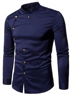Mandarin Collar Asymmetrical Button Up Shirt