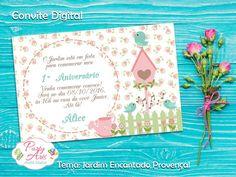 Arte Digital de Convite  Tema: Jardim Encantado Provençal    Enviamos as 02 versões:  -para ser impressa em casa ou em gráfica, no tamanho 10x7 ou 10x15 e para envio pela web (whatsapp, facebook, e-mail, etc)    A arte é entregue virtualmente através de e-mail com link para download do arquivo JP...