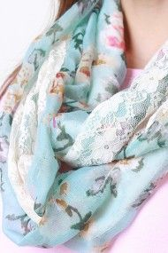 Lace Panel Rose Infinity Scarf