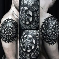 Mens Sacred Geometry Pattern Tattoos On Shoulder Blade