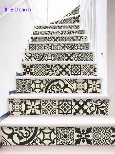 Wall/tile/stair decal : BLACK & BEIGE MUD style- 12 designs