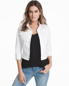 Three-Quarter Sleeve White Denim Jacket
