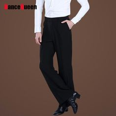 863640e45 Black with striped on hip with loop in waist with pocket straight man men's  male competition professional performance ballroom tango jive latin waltz  dance ...