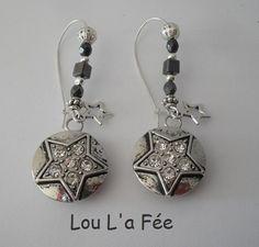 boucles d'oreilles boutons-pression grandes dormeuses étoiles et strass : Boucles d'oreille par lou-l-a-fee-creations-bijoux-fantaisie