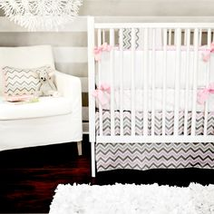 Combining chevron stripes with gray and pink is modern and cute :) Peace, Love and Pink Baby Bedding
