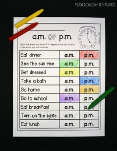 The Telling Time Activity Pack. The pages teach kids the foundations of telling time on a digital and analog clock: Recognizing the hour and minute hands Telling time to the nearest hour, half hour, quarter and intervals Identifying A. Telling Time Activities, Teaching Time, Student Teaching, Learning Activities, Telling Time For Kids, Activities For 1st Graders, Telling Time Games, Life Skills Activities, Teaching Money