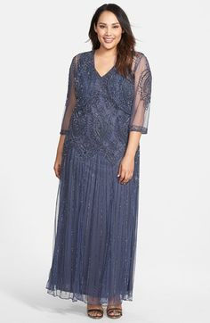 Pisarro+Nights+Beaded+V-Neck+Gown+&+Jacket+(Plus+Size)+available+at+#Nordstrom Capachino Beige only