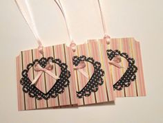 Gift Tag, Elegant Pink, White and Gold Stripe, Favor Tag, Birthday Gift Tag, Party Tag, Handmade-Set of 20