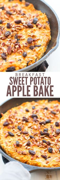 My kids LOVE this sweet potato and apple breakfast casserole. It takes a few minutes of prep a few minutes to bake and it's a nice alternative to eggs! compliant and you can use whatever apples you have (I used granny smith). Apple Breakfast, Sweet Potato Breakfast, Breakfast Potatoes, Breakfast Bowls, Breakfast Recipes, Breakfast Healthy, Breakfast Bake, Brunch Recipes, Breakfast Ideas