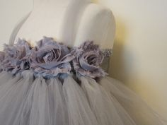 Flower Girl Tutu Dress Gray Baby Girls Toddler by AmericanBlossoms, $80.00