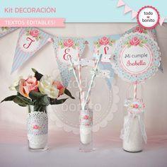 Shabby Chic aqua+rosa: decoración de fiesta - Todo Bonito