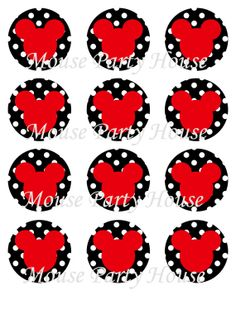 Mickey Mouse  Inspired Cupcake Toppers Red by MousePartyHouse, $2.00