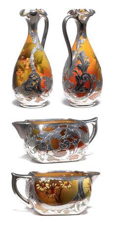 Rookwood silver overlay glassware (c. 1900).