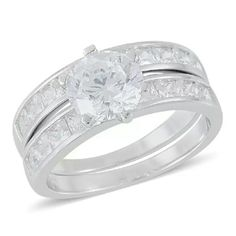 ELANZA 925-STERLING SILVER WEDDING RING SET Beautiful NWT-ELANZA WEDDING RING SET, SIMULATED DIAMONDS SET IN PURE 925-STERLING SILVER--TCW-6.095 ELANZA Jewelry Rings
