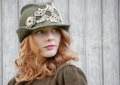 Rustic Trilby Hat Hand Felt Wool Fedora Earthy Green Gypsy, Boho, Fairy, Elf Fashion