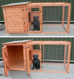 Top 5 Outdoor Dog Kennels Designed For Your Dogs Safety - Doggie Woof The Kimbe. Top 5 Outdoor Dog Kennels Designed For Your Dogs Safety – Doggie Woof The Kimberly Dog Kennel an Dog Kennel And Run, Diy Dog Kennel, Wooden Dog Kennels, Outdoor Dog Kennels, Dog Cage Outdoor, Indoor Outdoor, Dog Kennel Designs, Kennel Ideas, Dog House Plans