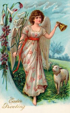 Find Vintage Easter Illustration Angel Leading Sheep stock images in HD and millions of other royalty-free stock photos, illustrations and vectors in the Shutterstock collection. Vintage Greeting Cards, Vintage Christmas Cards, Vintage Holiday, Vintage Postcards, Vintage Illustration, Easter Illustration, Victorian Angels, Resurrection Day, Easter Art