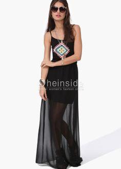 Black Tribal Print Strap Chiffon Bottom Maxi Dress - Sheinside.com