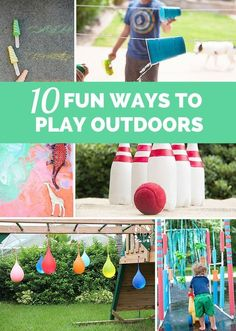 10 Outrageously Fun Ways for Kids to Play Outdoors! Summer fun and games. Outdoor Activities For Toddlers, Outdoor Fun For Kids, Summer Activities For Kids, Outdoor Play, Summer Kids, Preschool Activities, Outdoor Games, Kids Fun, Outdoor Toys