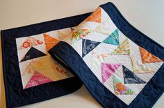 Quilted Table Runner or Wall Hanging with by MyBitOfWonder on Etsy