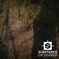 Mossy Cliff Face - Substance, Daniel Hull on ArtStation at https://www.artstation.com/artwork/X0L2y